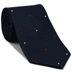 Midnight Blue Grenadine Grossa with White & Bright Red (Hand Sewn) Pin Dots Silk Tie #GGDT-8 (1,7)