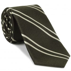 Off-White on Sage Grenadine Fina Reppe Stripe Silk Tie #GFRST-13