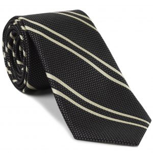 Off-White on Charcoal Gray Grenadine Fina Reppe Stripe Silk Tie #GFRST-9
