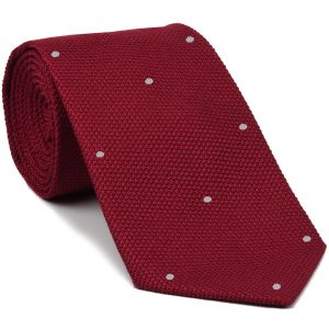 Red Grenadine Fina with Silver (Hand Sewn) Pin Dots Silk Tie #GFDT-1 (2)