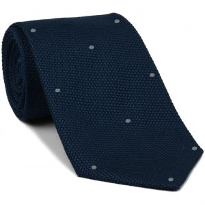 Soft Navy Grenadine Fina with Silver Gray (Hand Sewn) Pin Dots Silk Tie #GFDT-11 (35)