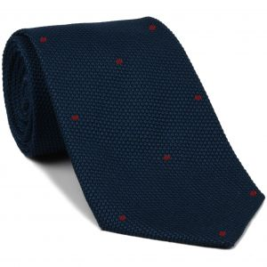 Soft Navy Grenadine Fina with Dark Red (Hand Sewn) Pin Dots Silk Tie #GFDT-11 (9)