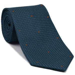 Slate Blue Blue Grenadine Grossa with  Brown (Hand Sewn) Pin Dots Silk Tie #GGDT-12(30)