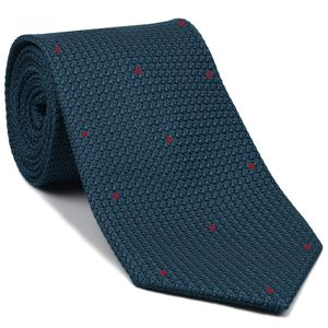 Slate Blue Blue Grenadine Grossa with Dark Red (Hand Sewn) Pin Dots Silk Tie #GGDT-12(9)