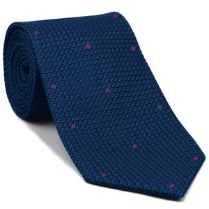 Blue Blue Grenadine Grossa with Fuchsia (Hand Sewn) Pin Dots Silk Tie #GGDT-13(13)