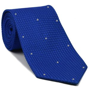 Royal Blue Grenadine Grossa with Silver (Hand Sewn) Pin Dots Silk Tie #GGDT-14 (2)