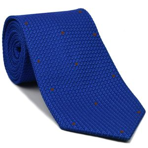 Royal Blue Grenadine Grossa with Brown (Hand Sewn) Pin Dots Silk Tie #GGDT-14 (30)