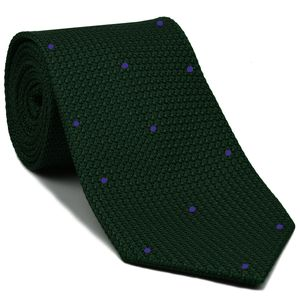 Forest Green Grenadine Grossa with Purple (Hand Sewn) Pin Dots Silk Tie #GGDT-16 (16)