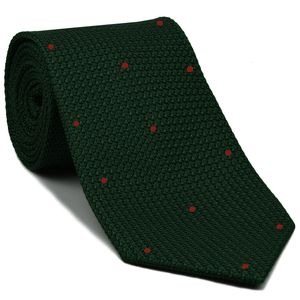 Forest Green Grenadine Grossa with Red (Hand Sewn) Pin Dots Silk Tie #GGDT-16 (8)