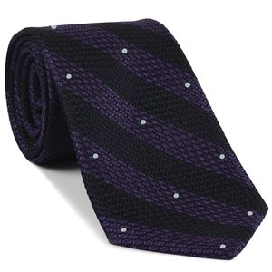 Purple & Midnight Blue Grenadine Grossa Wide Stripe with White (Hand Sewn) Pin Dots Silk Ties #GGBSDT-5(1)