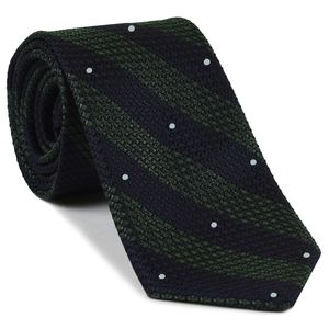 Dark Olive Green & Midnight Blue Grenadine Grossa Wide Stripe with White (Hand Sewn) Pin Dot Silk Ties #GGBST-8(1)