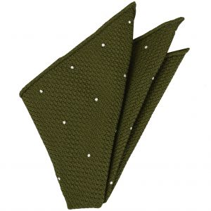 Olive Green Grenadine Grossa (Hand Sewn) designs Pocket Square #GGDPS-18