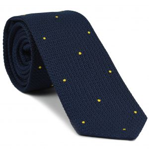 Soft Navy Blue Grenadine Grossa with Yellow (Hand Sewn) Pin Dots Silk Tie #GGDT-11(25)