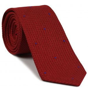 Red Grenadine Grossa with Purple (Hand Sewn) Pin Dots Silk Tie #GGDT-1(16)