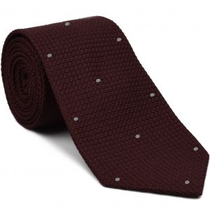 Burgundy Grenadine Grossa with Silver (Hand Sewn) Pin Dots Silk Tie #GGDT-3 (2)