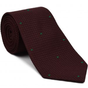 Burgundy Grenadine Grossa with Forest Green (Hand Sewn) Pin Dots Silk Tie #GGDT-3 (22)
