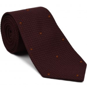 Burgundy Grenadine Grossa with Burnt Orange (Hand Sewn) Pin Dots Silk Tie #GGDT-3 (29)