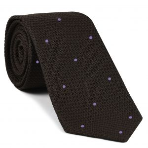 Bitter Chocolate Grenadine Grossa with Lavender (Hand Sewn) Pin Dots Silk Tie #GGDT-6 (14)