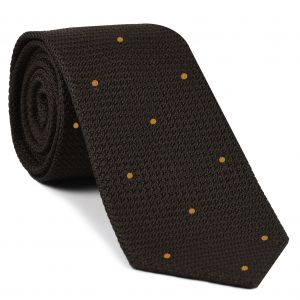 Bitter Chocolate Grenadine Grossa with Gold (Hand Sewn) Pin Dots Silk Tie #GGDT-6 (26)