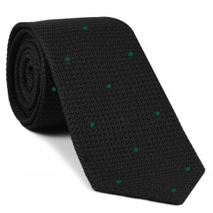 Black Grenadine Grossa with Forest Green (Hand Sewn) Pin Dots Silk Tie #GGDT-7 (22)