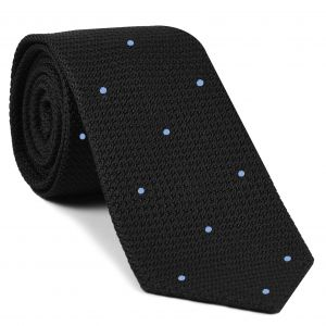 Black Grenadine Grossa with Sky Blue (Hand Sewn) Pin Dots Silk Tie #GGDT-7 (3)