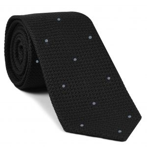 Black Grenadine Grossa with Silver Gray (Hand Sewn) Pin Dots Silk Tie #GGDT-7 (35)