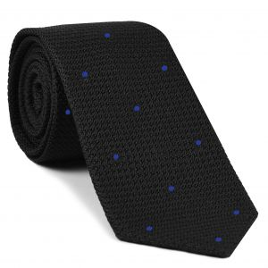 Black Grenadine Grossa with Blue (Hand Sewn) Pin Dots Silk Tie #GGDT-7 (4)