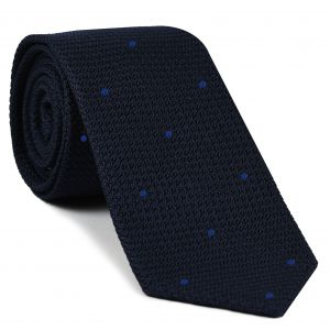 Midnight Blue Grenadine Grossa with Blue (Hand Sewn) Pin Dots Silk Tie #GGDT-8(4)
