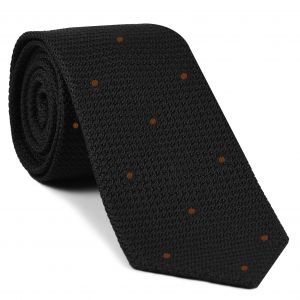 Black Grenadine Grossa with Reddish Brown (Hand Sewn) Pin Dots Silk Tie #GGDT-7 (42)