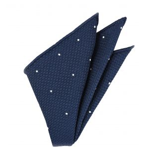 Soft Navy Blue Grenadine Grossa (Hand Sewn) designs Pocket Square #GGDPS-11
