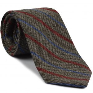Red & Light Lavender Stripes on Camel Wool Tie #GSWT-8