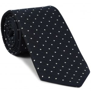 White Dot on Midnight Blue Herringbone Pin Dot Silk Tie #HBPDT-1