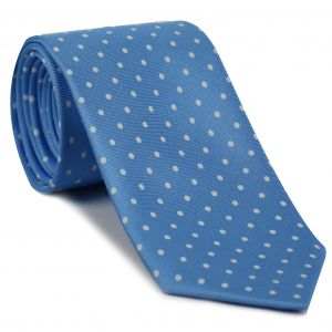 White on Sky Blue Macclesfield Printed Silk Tie #MCDT-19