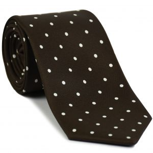 White On Bitter Chocolate Printed Dot Silk Tie #MCDT-2