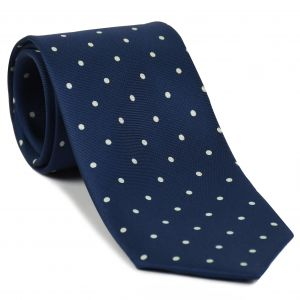 Off-White on Dark Navy Blue Print Dot Silk Tie #MCDT-46
