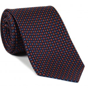 Red, White & Sky Blue on Dark Navy Blue Macclesfield Print Silk Tie #MCT-263
