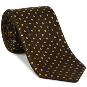 Dark Blue, Sky Blue & Light Yellow on Dark Chocolate  Macclesfield Print Silk Tie #MCT-290