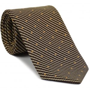 Off-White & Gold on Chocolate English Printed Silk Tie #MCT-46