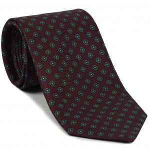 Sky Blue & Green on Reddish Purple Macclesfield Printed Silk Tie #MCT-564