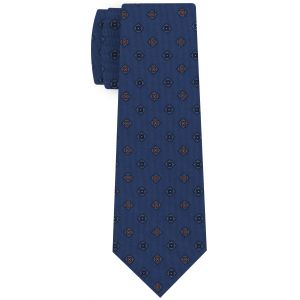 Blue,White & Burnt Orange on Dark Blue Print Pattern Silk Tie #MCT-620
