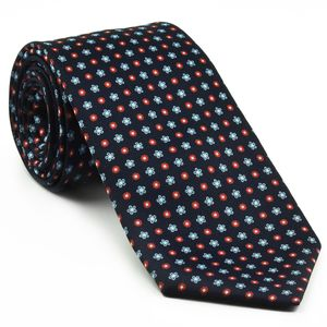 Sky Blue, White & Red on Dark Navy Blue Print Pattern Silk Tie #MCT-624