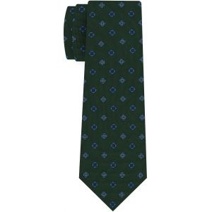 Sky Blue, Red, Blue & White on Forest Green Print Pattern Silk Tie #MCT-626