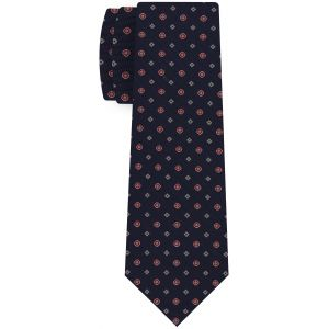 Red, White & Off-White on Dark Navy Blue Print Pattern Silk Tie #MCT-628