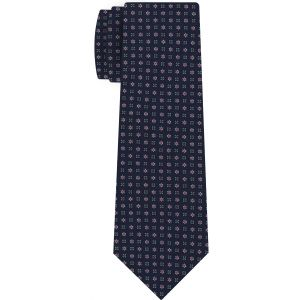 Sky Blue, Pink & White on Dark Blue Print Pattern Silk Tie #MCT-633
