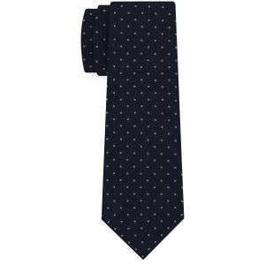 White on Dark Navy Blue Print Pattern Silk Tie #MCT-639