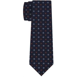 Burnt Orang, Blue & White on Dark Navy Blue Print Pattern Silk Tie #MCT-640