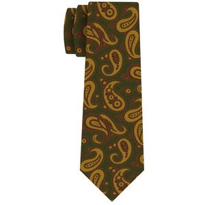 Yellow, Brown on Olive Green Pattern Silk Tie #MCT-649