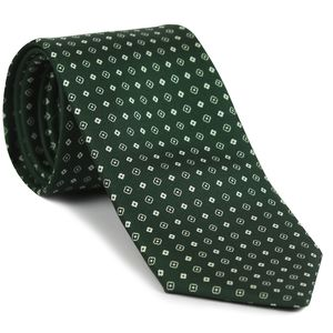 Off-White on Forest Green Macclesfield Print Pattern Silk Tie #MCT-496