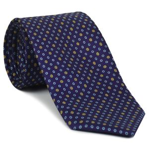 Sky Blue, Light Yellow & Orange on Dark Purple Print Pattern Silk Tie #MCT-598