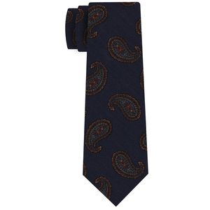 ฺBurnt Orange, Sky Blue, Yellow Gold on Dark Purple Macclesfield Printed Wool Tie #MCWT-10